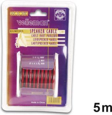 Velleman - Højttalerledning - 2 x 1,5mm² CU, rød/sort (5m)