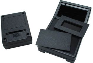 ABS instrumentkabinet - Sort, m. batterihus (190x104x57mm)